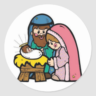 Nativity scene with baby Jesus Round Sticker