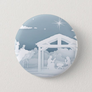 Nativity Scene With Three Wise Men Pinback Button