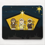 Nativity Shepherds in Stable Mousepad