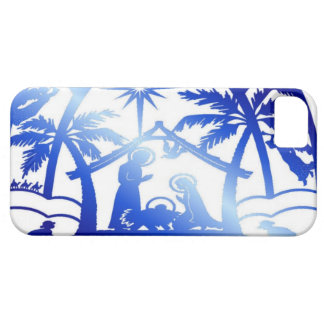 Nativity Silhouette, Blue iPhone 5 Covers
