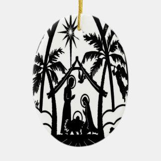 Nativity silhouette ceramic ornament