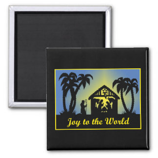 Nativity Silhouette Joy to the World 2 Inch Square Magnet