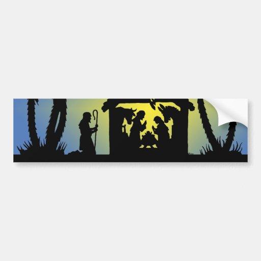 Nativity Silhouette Joy to the World Car Bumper Sticker
