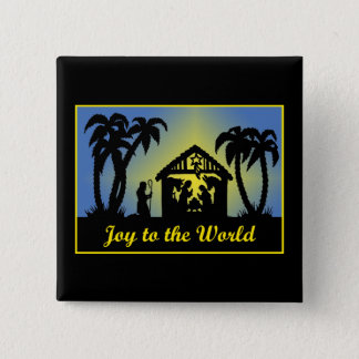 Nativity Silhouette Joy to the World Button