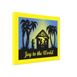 Nativity Silhouette Joy to the World Stretched Canvas Prints