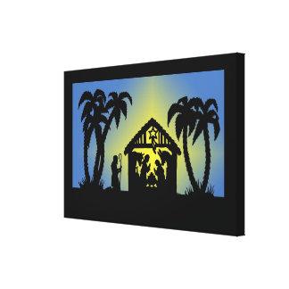 Nativity Silhouette Joy to the World Canvas Print