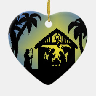 Nativity Silhouette Joy to the World Ceramic Ornament