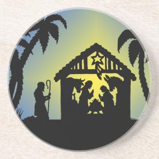 Nativity Silhouette Joy to the World Coasters