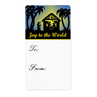 Nativity Silhouette Joy to the World Gift Tags Personalized Shipping Labels