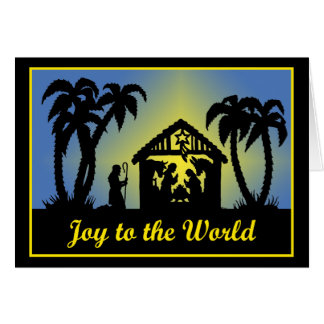 Nativity Silhouette Joy to the World Greeting Card