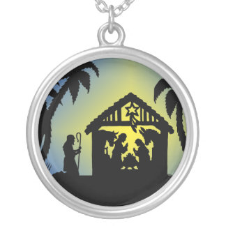 Nativity Silhouette Joy to the World Necklace