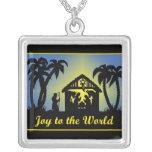 Nativity Silhouette Joy to the World Custom Necklace