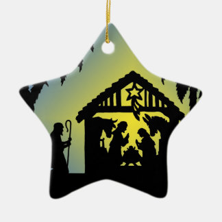 Nativity Silhouette Joy to the World Double-Sided Star Ceramic Christmas Ornament