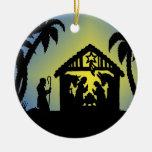 Nativity Silhouette Joy to the World Christmas Ornaments