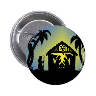 Nativity Silhouette Joy to the World Pinback Button