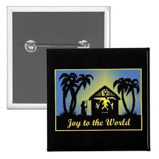 Nativity Silhouette Joy to the World Pins