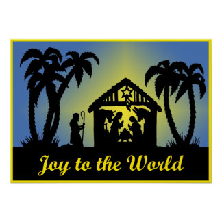 Nativity Silhouette Joy to the World Posters