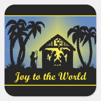 Nativity Silhouette Joy to the World Square Sticker