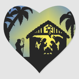 Nativity Silhouette Joy to the World Heart Sticker