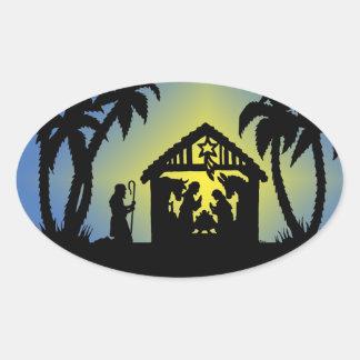 Nativity Silhouette Joy to the World Oval Sticker