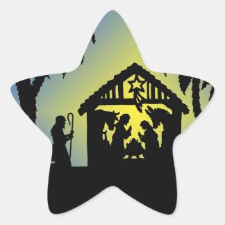 Nativity Silhouette Joy to the World Star Sticker