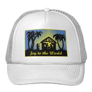 Nativity Silhouette Joy to the World Trucker Hats