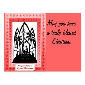 Nativity Silhouette pink Postcards