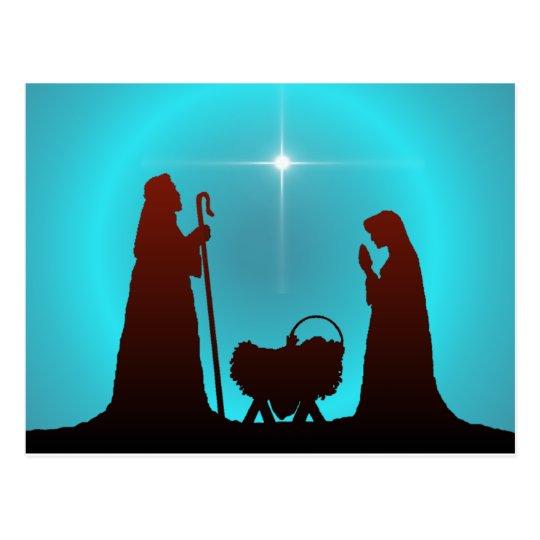 Nativity silhouette star by sharon sharpe postcard