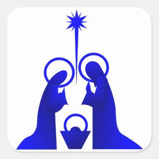 Nativity Silhouette Square Sticker