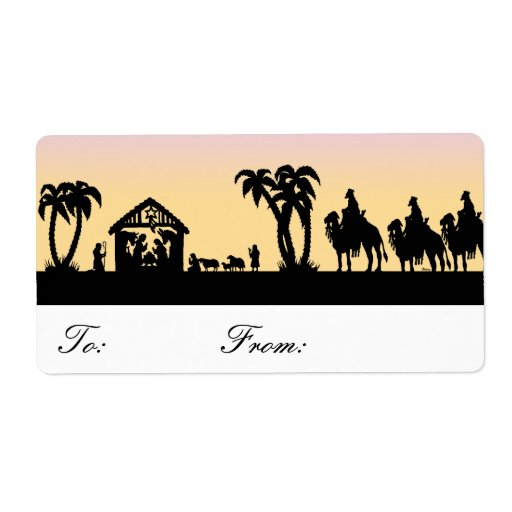 Nativity Silhouette Wise Men on Horizon Gift Tags Custom Shipping Label