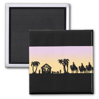 Nativity Silhouette Wise Men on the Horizon 2 Inch Square Magnet