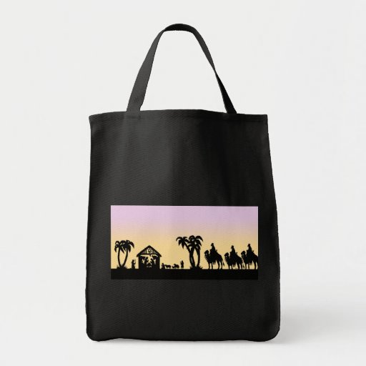 Nativity Silhouette Wise Men on the Horizon Tote Bags