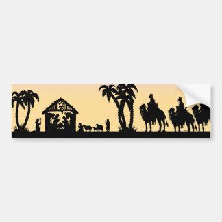 Nativity Silhouette Wise Men on the Horizon Car Bumper Sticker