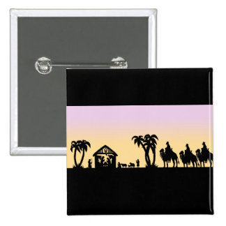 Nativity Silhouette Wise Men on the Horizon 2 Inch Square Button