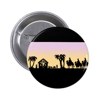 Nativity Silhouette Wise Men on the Horizon 2 Inch Round Button