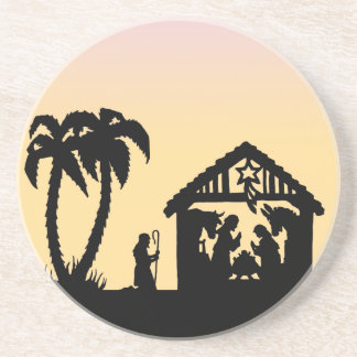 Nativity Silhouette Wise Men on the Horizon Drink Coasters
