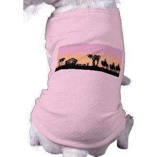 Nativity Silhouette Wise Men on the Horizon Dog Tee Shirt