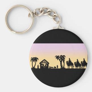 Nativity Silhouette Wise Men on the Horizon Keychain