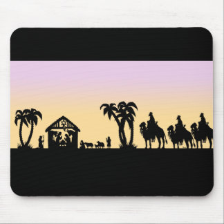 Nativity Silhouette Wise Men on the Horizon Mouse Pad