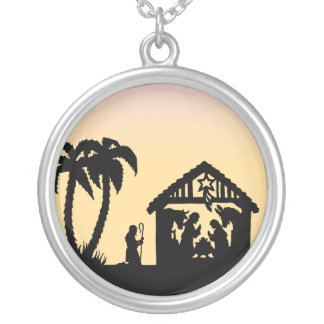 Nativity Silhouette Wise Men on the Horizon Round Pendant Necklace