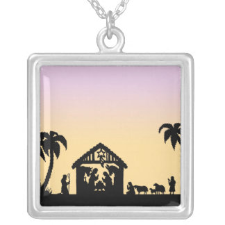 Nativity Silhouette Wise Men on the Horizon Square Pendant Necklace