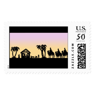 Nativity Silhouette Wise Men on the Horizon Postage