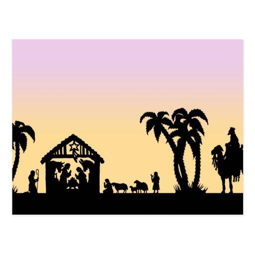Nativity Silhouette Wise Men on the Horizon Postcard