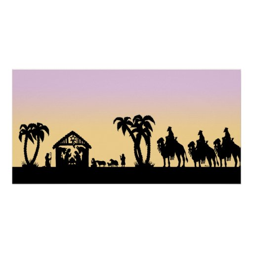 Nativity Silhouette Wise Men on the Horizon Poster ...