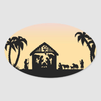 Nativity Silhouette Wise Men on the Horizon Oval Sticker