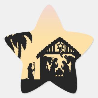 Nativity Silhouette Wise Men on the Horizon Star Sticker