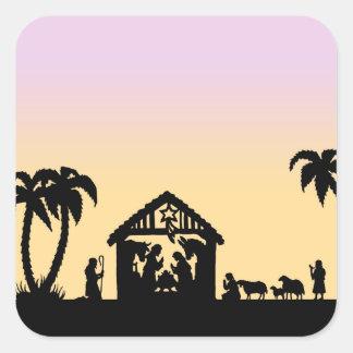 Nativity Silhouette Wise Men on the Horizon Square Sticker