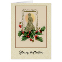 Nativity St. Joseph Virgin Mary Baby Jesus Holly Card