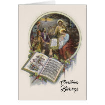 Nativity St. Joseph Virgin Mary Baby Jesus Music Card