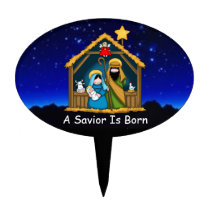 nativity stable scene cake topper